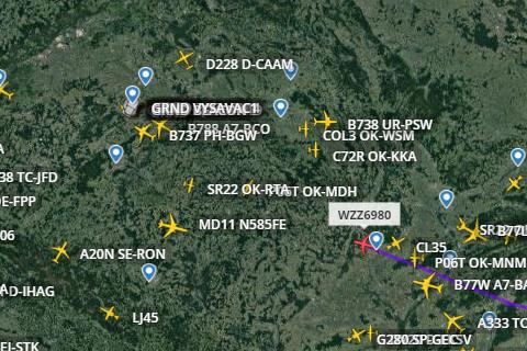 Sledování provozu  - Flightradar24.com