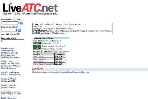 Poslech komunikace - LIVE ATC